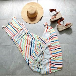 Peter Som multi color striped maxi dress size S